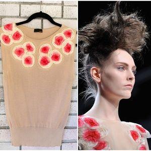 Fendi Flower Embellished Tan Knit Top